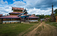 INLE LAKE, MYANMAR - CIRCA DECEMBER 2013: Village of Sankar (or Samka ). A small village located in the south of Inle Lake.