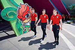 NANNING, CHINA - Tuesday, March 20, 2018: Wales' goalkeeper Chris Maxwell, Billy Bodin and Connor Roberts during a team walk at the Wanda Realm Resort ahead of the 2018 Gree China Cup International Football Championship. (Pic by David Rawcliffe/Propaganda)