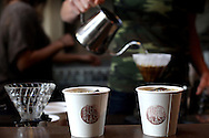 A couple of iced coffees wait to be claimed at Sightglass Coffee Bar and Roastery on Seventh Street in San Francisco, CA on November 1, 2011.