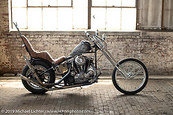 Luke Woolard's 1976 custom Ironhead Sportster on setup day at the Congregation Show in Charlotte, NC. USA. Friday April 13, 2018. Photography ©2018 Michael Lichter.