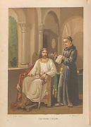 Charlemagne and Alcuin (Alcuin of York) [here as Carlomagno and Alcuino]. Illustration for La Ciencia Y Sus Hombres by Luis Figuier (D Jaime Seix, 1876). Large chromolithograph.