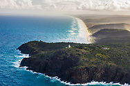 Aerial photograph of Double Island Point Lighthouse, Great Sandy National Park, Sunshine Coast, Queensland, Australia