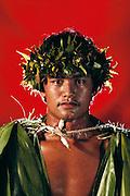 Hawaiian man. Hula contest in Hilo. Big Island, Hawaii. USA. MODEL RELEASED.