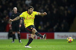 Watford's Troy Deeney scores his side's first goal of the game, from the penalty spot during the Premier League match at Vicarage Road, Watford.