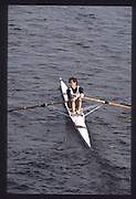 London. United Kingdom.  Dan TOPOLSKI . 1990 Scullers Head of the River Race. River Thames, viewpoint Chiswick Bridge Saturday 07.04.1990<br /> <br /> [Mandatory Credit; Peter SPURRIER/Intersport Images] 19900407 Scullers Head, London Engl