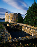 Fort William Henry, built by the British in 1692 and lost to the French.  Later restored by and renamed Fort Frederick in 1729 by Colonel Dunbar, Mouth of the Pemaquid River, Colonial Pemaquid State Historic Site, Bristol, Maine.