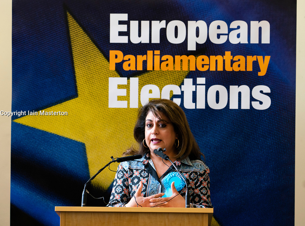 Edinburgh, Scotland, UK. 27 May, 2019. The six new Scottish MEPs are declared at the City Chambers in Edinburgh, SNP's Alyn Smith, Christian Allard and Aileen McLeod, Louis Stedman-Bruce from the Brexit Party, Sheila Ritchie of the Liberal Democrats and Baroness Nosheena Mobarik of the Conservatives. Pictured Baroness Nosheena Mobarik MEP