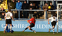 Photo: Paul Greenwood.<br />Macclesfield Town v Hereford United. Coca Cola League 2. 20/01/2007. Hereford keeper Wayne Brown is beaten by Macclesfield's Matty Brown's shot