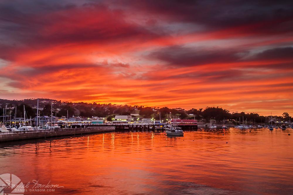 Sunset over Monterey Harbor, Monterey, California from Wharf #2
