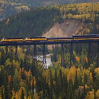 Train trestle outside the train station in Denali National Park Alaska