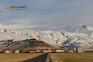 Farm below Eyjafjallajokull Glacier near Hvolsvollur in south Iceland