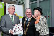 Galway Bay FM and Chairperson Galway Gatherings Steering Group  Keith Finnegan, Galway County Mayor Cllr Tom Welby and  Jonathon Gunning Gombeen Theatre Co.   at Aras An Contae. Picture Andrew Downes..