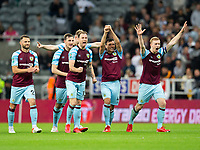Football - 2021 / 2022  EFL Carabao Cup - Round Two - Newcastle United vs Burnley - St Jame's Park - Wednesday 25th August 2021<br /> <br /> The Burnley players react after winning on a penalty shootout<br /> <br /> Credit: COLORSPORT/Bruce White