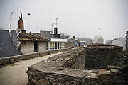 View along the walkway on top of the old Roman walls surrounding Lugo, Galicia, Spain. As the only complete Roman city wall, they were named a World Heritage Site by UNESCO in 2000.