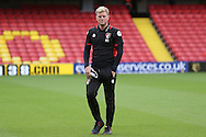 Eddie Howe, the Bournemouth manager looking on before k/o. Premier league match, Watford v AFC Bournemouth at Vicarage Road in Watford, London on Saturday 1st October 2016.<br /> pic by John Patrick Fletcher, Andrew Orchard sports photography.