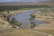 Meander in River Draa showing valley date palm gardens and barren hills, near Zagora, Morocco, north Africa