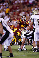 1 September 2007:  QB #10 John David Booty makes hand gestures calling plays during the USC Trojans college football team defeated the Idaho Vandals 38-10 at the Los Angeles Memorial Coliseum in CA.  NCAA Pac-10 #1 ranked team first game of the season.