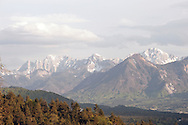View of the mountains running along the Austrian-Slovenian border, from the church of St Michael in Oberjeserz, near Velden, on the Alpe Adria Trail, Carinthia, Austria © Rudolf Abraham