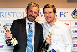 Bristol Rovers Manager Darrell Clarke with the winner of the first prize at the Sponsors Draw - Mandatory by-line: Robbie Stephenson/JMP - 15/04/2016 - FOOTBALL - The Memorial Ground - Bristol, England -  v  - Bristol Rovers Sponsor Draw