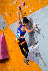 Molly Thompson-Smith of Great Britain competes in Lead Women semi- final at the International Federation of Sport Climbing (IFSC) World Cup 2017 at Edinburgh International Climbing Arena, Scotland, United Kingdom.