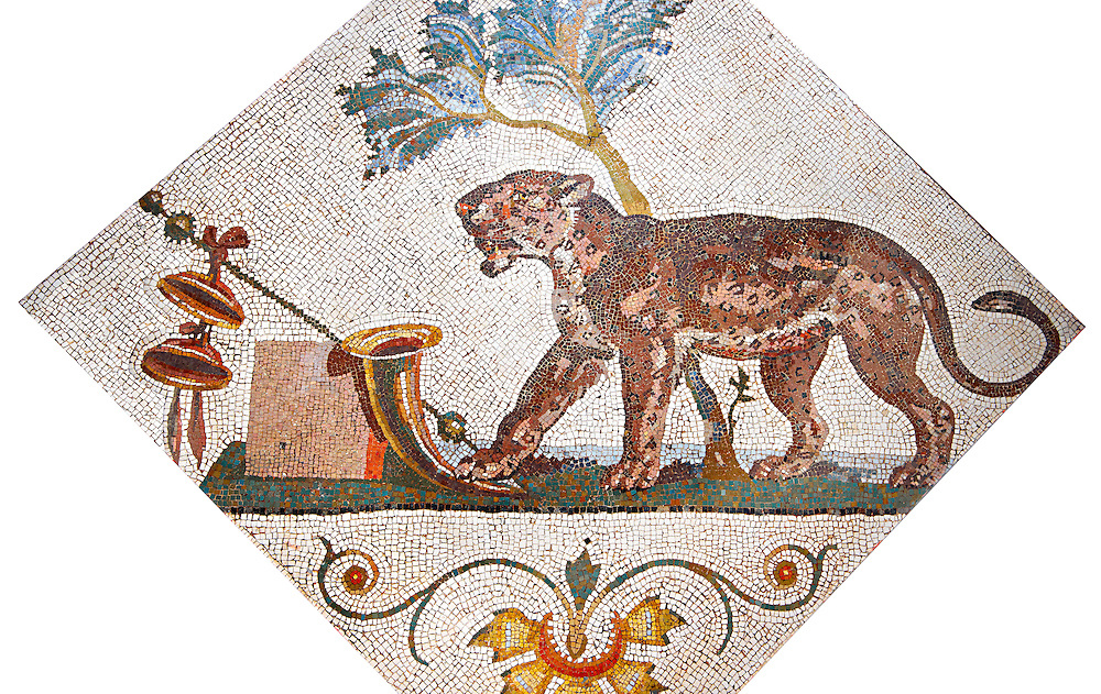 Roman mosaics from Pompeii showing a Panther with Dionysus symbol (Pantera con simboli dionisiaci) from the Santangelo collection, Naples Archaeological Museum, Italy ...<br /> <br /> If you prefer to buy from our ALAMY PHOTO LIBRARY  Collection visit : https://www.alamy.com/portfolio/paul-williams-funkystock/roman-mosaic.html - Type -   Naples    - into the LOWER SEARCH WITHIN GALLERY box. Refine search by adding background colour, place, museum etc<br /> <br /> Visit our ROMAN MOSAIC PHOTO COLLECTIONS for more photos to download  as wall art prints https://funkystock.photoshelter.com/gallery-collection/Roman-Mosaics-Art-Pictures-Images/C0000LcfNel7FpLI