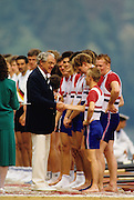 Bled, Slovenia, YUGOSLAVIA. GBR M8+, FISA President Tommy KELLER, present  cox Adrian ELLISON with his Bronze medal at the 1989 World Rowing Championships, Lake Bled. [Mandatory Credit. Peter Spurrier/Intersport Images]