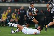 Keelan Giles of the Ospreys (c) makes a break.European Rugby Champions Cup, pool 2 match, Ospreys v ASM Clermont Auvergne at the Liberty Stadium in Swansea, South Wales on Sunday 15th October 2017.<br /> pic by  Andrew Orchard, Andrew Orchard sports photography.