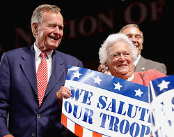 Former President George Bush and his wife Barbara attend the Republican National Convention at the Madison Square Garden in New York on August 30, 2004. Photo by Olivier Douliery/ABACA.    64981_02