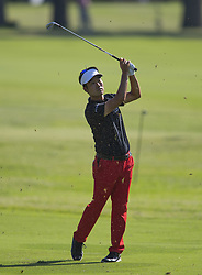 May 25, 2018 - Fort Worth, TX, USA - FORT WORTH, TX - MAY 25, 2018 - Kevin Na hits his approach to the 9th hole during the second round of the 2018 Fort Worth Invitational PGA at Colonial Country Club in Fort Worth, Texas (Credit Image: © Erich Schlegel via ZUMA Wire)