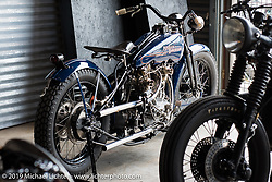 """Matt Olsen's """"One of One"""" (owned by Mike Detwiler) completely handbuilt custom Harley-Davidson during set-up day at the Handbuilt Motorcycle Show. Austin, TX. April 9, 2015.  Photography ©2015 Michael Lichter."""