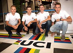 26.09.2018, Innsbruck, AUT, UCI Straßenrad WM 2018, Pressekonferenz, im Bild v.l. Benjamin Brkic (AUT), Mario Gamper (AUT), Felix Gall (AUT), Marcel Neuhauser (AUT) // f.l. Benjamin Brkic of Austria Mario Gamper of Austria Felix Gall of Austria Marcel Neuhauser of Austria during press conference of u23 Team Austria for the UCI Road World Championships 2018. Innsbruck, Austria on 2018/09/26. EXPA Pictures © 2018, PhotoCredit: EXPA/ Reinhard Eisenbauer