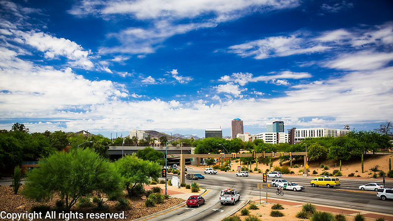 View of downtown Tucson looking west
