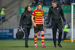 Partick Thistle's Niall Keown injures his cheek in a collision with the keeper as Falkirk scored. Falkirk 1 v 1 Partick Thistle, Scottish Championship game played 17/11/2018 at The Falkirk Stadium.