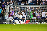 Football - 2021 / 2022 Premier League - Tottenham Hotspur vs Aston Villa - Tottenham Hotspur Stadium - Sunday 3rd October 2021<br /> <br /> Danny Ings (Aston Villa) has a shot at the Tottenham goal from the edge of the box <br /> <br /> COLORSPORT/DANIEL BEARHAM