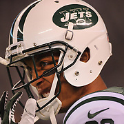 David Nelson, New York Jets, during warm up before the New York Jets Vs Chicago Bears, NFL regular season game at MetLife Stadium, East Rutherford, NJ, USA. 22nd September 2014. Photo Tim Clayton for the New York Times