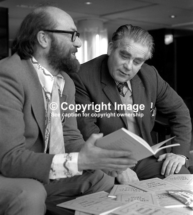 Sammy Smyth, founder member, early public face, UDA, Ulster Defence Association, right, receives a copy of a booklet containing Irish translations of common Ulster family names from Padraig O Snodaigh, president, Gaelic League. They met in the Europa Hotel, Belfast. 197504000384a<br /> <br /> Copyright Image from Victor Patterson, Belfast, UK<br /> <br /> t: +44 28 9066 1296 (from Rep of Ireland 048 9066 1296)<br /> m: +44 7802 353836<br /> e: victorpattersonbelfast@gmail.com<br /> <br /> www.images4media.com<br /> <br /> Please see my full Terms and Conditions of Use at https://www.images4media.com/p/terms-conditions - it is IMPORTANT that you familiarise yourself with them.<br /> <br /> Images used online incur an additional cost. This cost should be agreed in writing in advance. Online images must be visibly watermarked i.e. © Victor Patterson or that of the named photographer within the body of the image. The original metadata must not be deleted from images used online.<br /> <br /> This image is only available for the use of the download recipient i.e. television station, newspaper, magazine, book publisher, etc, and must not be passed on to a third party. It is also downloaded on condition that each and every usage is notified within 7 days to victorpattersonbelfast@gmail.com.<br /> <br /> The right of Victor Patterson (or the named photographer) to be identified as the author is asserted in accordance with The Copyright Designs And Patents Act (1988). All moral rights are asserted.