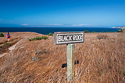 Hiker at Black Rock Point, Santa Rosa Island, Channel Islands National Park, California USA