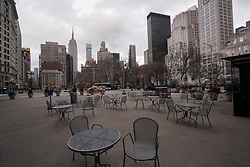 March 16, 2020, New York, New York, USA: Empty chairs and tables sit as New York City responds to the Coronavirus. (Credit Image: © Bryan Smith/ZUMA Wire)