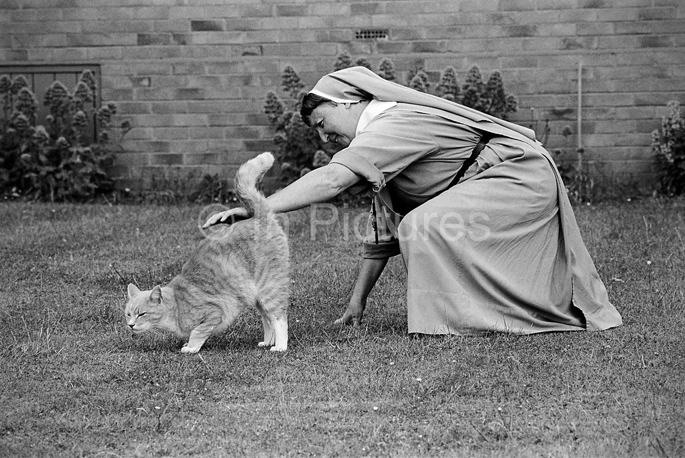 Nun stroking a cat at the Anglican Convent of the Holy Name, Malvern