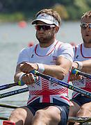 Poznan, POLAND. GBR M2X, Jonny WALTON. heat men's double sculls at the 2015 FISA European Rowing Championships. Venue, Lake Malta. Saturday 30.05.2015. [Mandatory Credit: Peter Spurrier/Intersport Images]