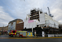© Licensed to London News Pictures. 07/01/2020. London, UK. The scene at Koko, the music venue in Camden following the fire that damaged the roof. The fire started just before 9pm on Monday 6 January and the fire-fighters brought the fire under control at about 02:30am on Tuesday 7 January 2020. Photo credit: Dinendra Haria/LNP