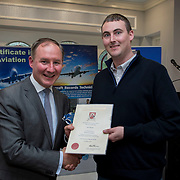 24.05.2018.       <br /> The Limerick Institute of Technology with Atlantic Air Adventures and funding from the Aviation Skillnet presented over forty certificates to Aviation professionals who have completed the Certificate in Aviation, The Aircraft Records Technician Level 7 and Part 21 Design, Level 7.<br /> <br /> Pictured at the event was Jim Gavin, The Irish Aviation Authority and Manager of the Dublin Football Team who presented, Ian Power with their cert.<br /> <br /> LIT in partnership with Atlantic Air Adventures, CAE Parc Aviation, Part 21 Design and industry experts such as Anton Tams, GECAS, Don Salmon, CAE Parc Aviation and Mick Malone, Part 21 Design have developed and deliver these key training programmes with funding for aviation companies provided by The Aviation Skillnet.<br /> <br /> . Picture: Alan Place