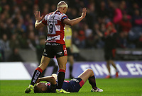 Rugby Union - 2017 European Rugby Challenge Cup Final - Gloucester vs. Stade Francais<br /> <br /> Willi Heinz of Gloucester is yellow carded by referee John Lacey during the match at Murrayfield.<br /> <br /> COLORSPORT/LYNNE CAMERON
