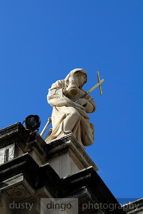 Statue representing Faith, atop the church of Saint Blaise (Sveti Vlaho), Dubrovnik old town, Croatia