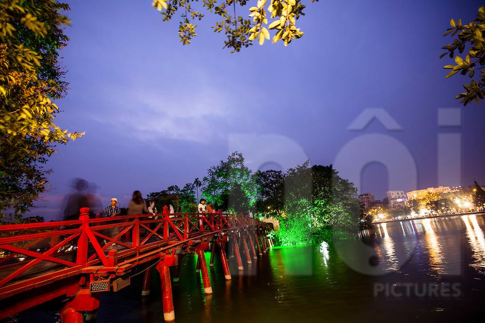View at night of The Huc Bridge leading to Ngoc Son Temple, Hoan Kiem Lake, Hanoi, Vietnam, Southeast Asia