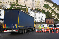 © Licensed to London News Pictures. 22/12/2020. London, UK. The Port of Dover remains closed due to the response to France closing its borders to the UK. All freight and passenger traffic have been banned for 48 hours due to the new mutant strain of the Coronavirus in England. Photo credit: London News Pictures