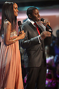 """l to r: Joy Bryant and Derek Luke at BET's  5th Annual Rip the Runway hosted by Joy Bryant and Derek Luke held at Hammerstein Ballroom on February 21, 2009 in New York City. ..RIP THE RUNWAY showcases the latest trends in fashion, hip accessories, music and the hottest models on the runway. Returning for its fifth season, BET partners with the leading urban designers including Akoo, Protege', Korto Momolu (from Bravo's """"Project Runway""""), and Johnny Vincent Swimwear to bring viewers an exclusive front row seat to the finest fashion show in town."""