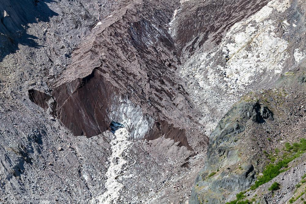 The Nisqually glacier terminus on Mount Rainier in Mount Rainier National Park, Washington State, USA