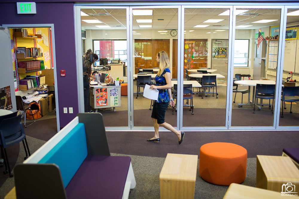 The Student Learning Lab is filled with glass windows, moveable desks and seats, and white boards to promote group collaboration at Rancho Middle School in Milpitas, California, on September 16, 2013. (Stan Olszewski/SOSKIphoto)