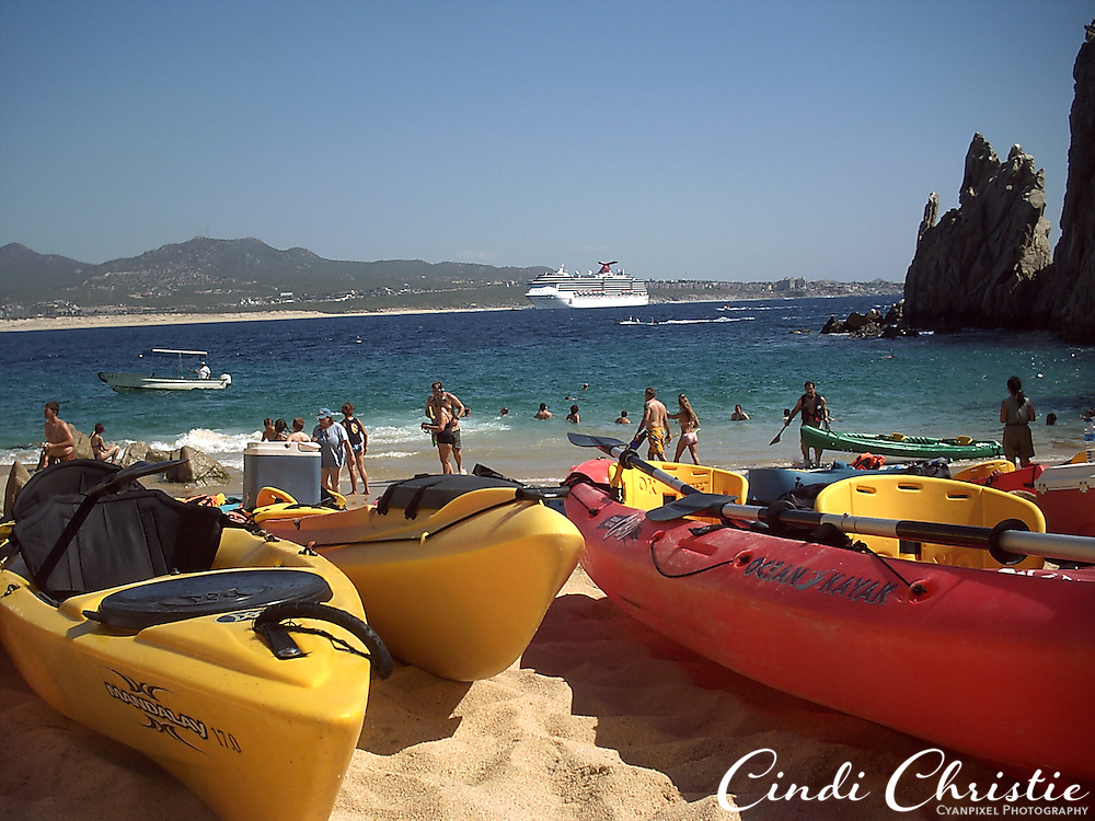 Sea kayaks at Lovers Beach,  Cabo San Lucas, Mexico